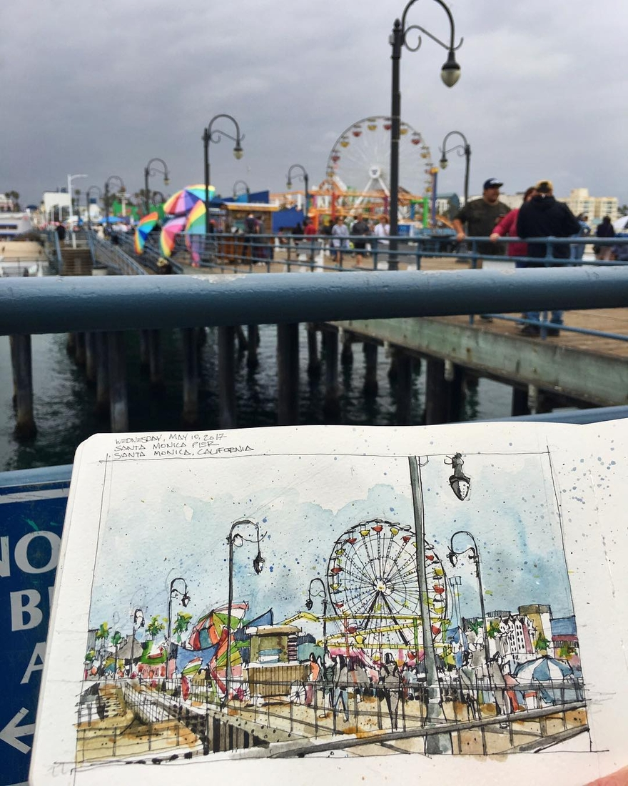 02-Santa-Monica-Pier-Josiah-Hanchett-Urban-Sketcher-taking-in-the-views-and-Drawing-them-www-designstack-co