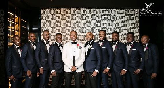 Tunde Demurenand his friends at wedding in dubai