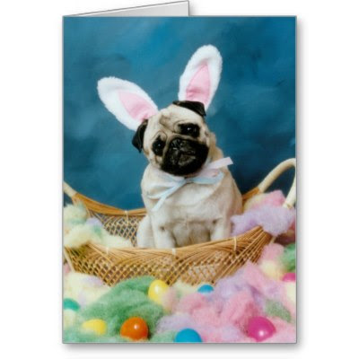 Pug Easter Bunny - Cute Easter Greeting Card