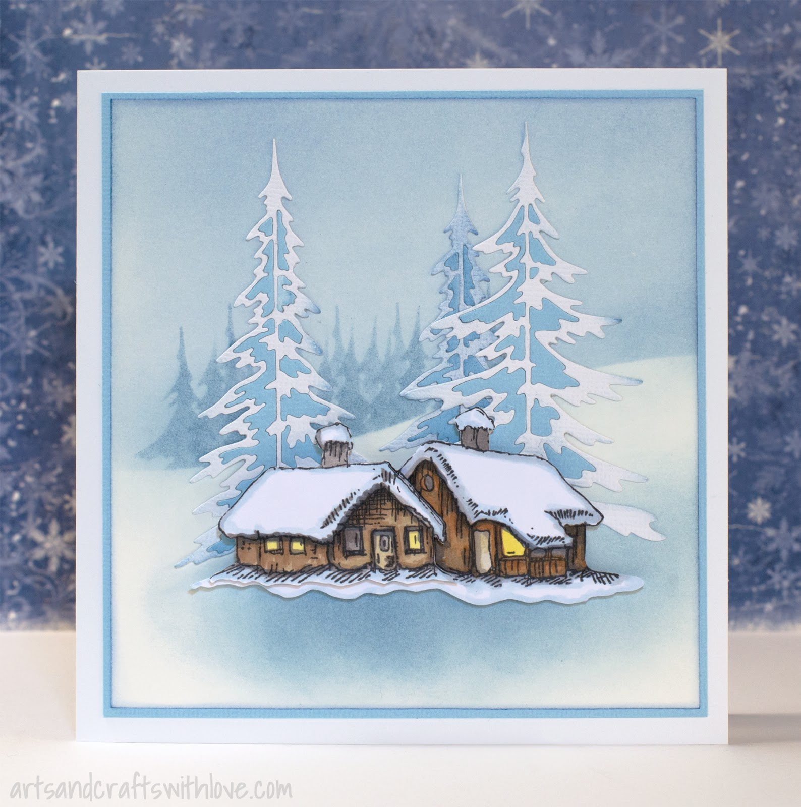 Elina\'s Arts And Crafts: Snow and ice on a Christmas card