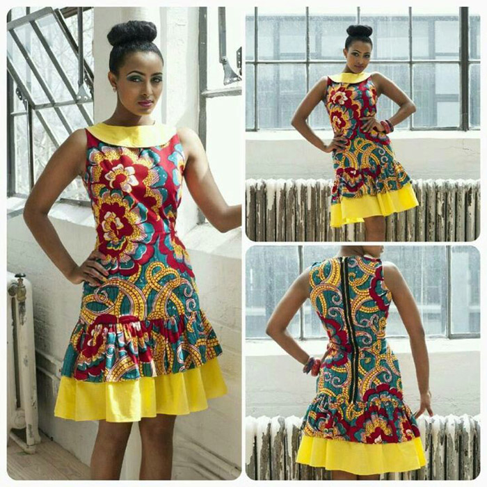 plain and pattern ankara gown (5)