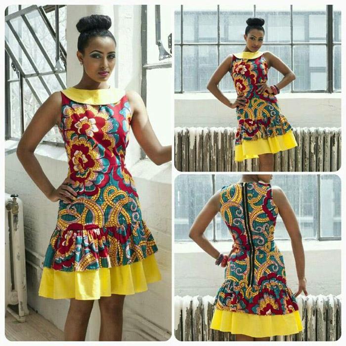 plain and pattern ankara gown (5)