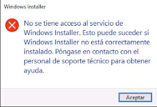 Windows Installer: Error al iniciar desinstalar un programa