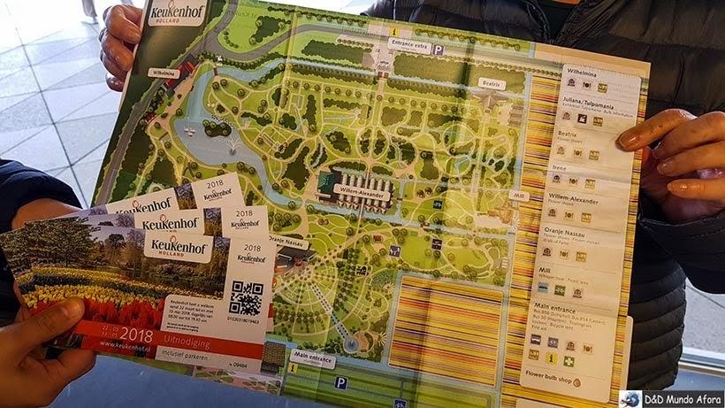 Mapa do Keukenhof: parque das Tulipas da Holanda