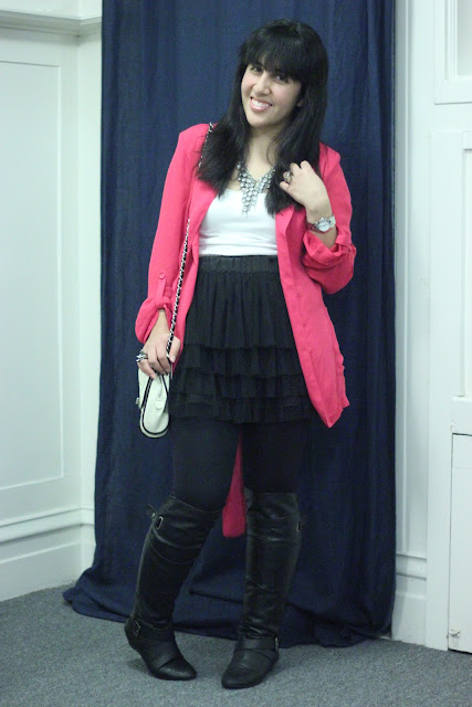 Forever 21 Pink Blazer and Tulle Skirt Party Outfit Inspiration