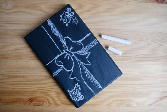 carta nera gesso regalo pacchetto