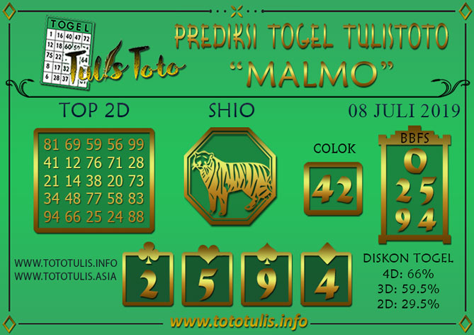 Prediksi Togel MALMO TULISTOTO 08 JULI 2019