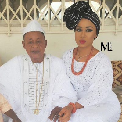 Check Out Alaafin of Oyo and his stunning last wife, Ayaoba Ajoke (See Photo)