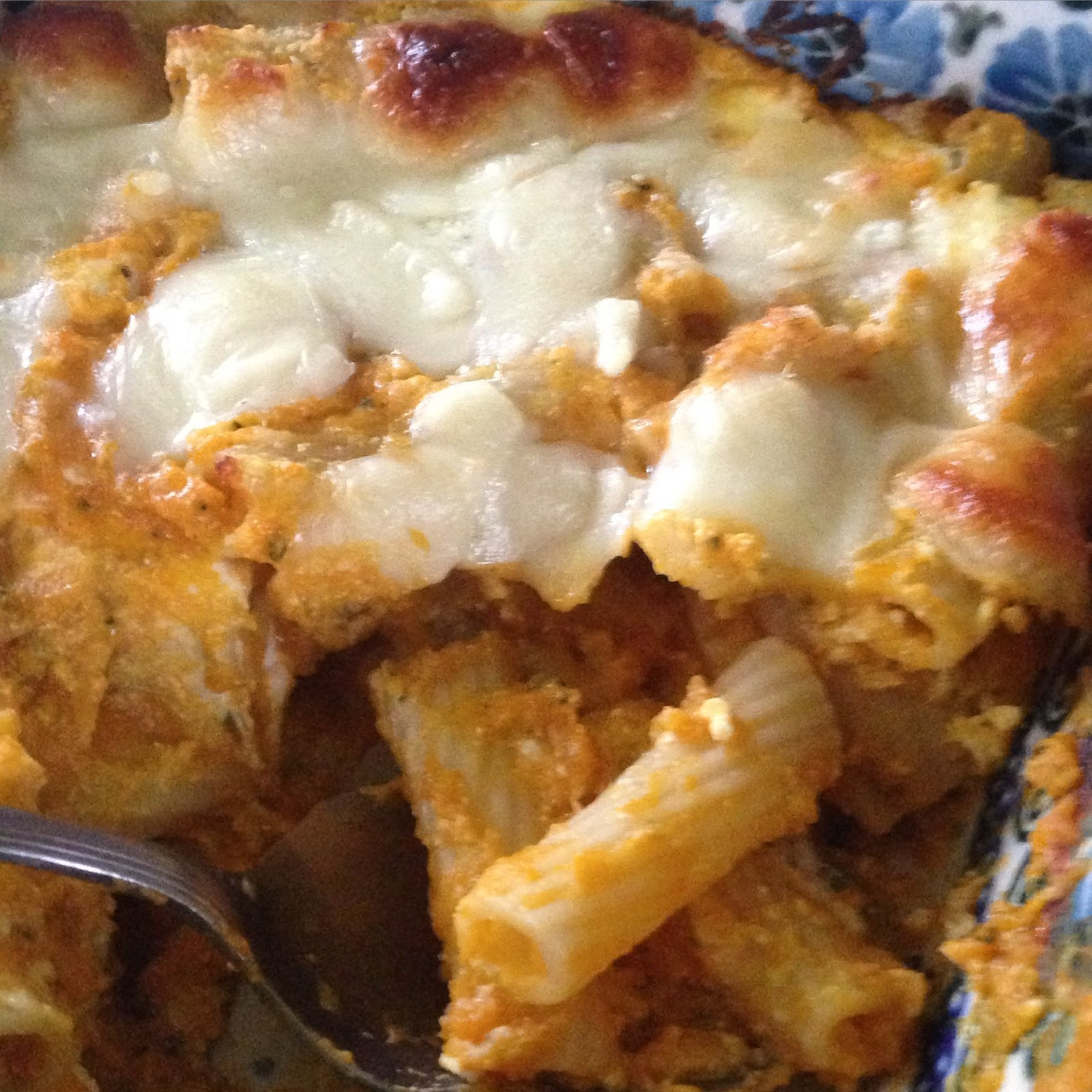 Leftover butternut puree transformed into butternut baked ziti.