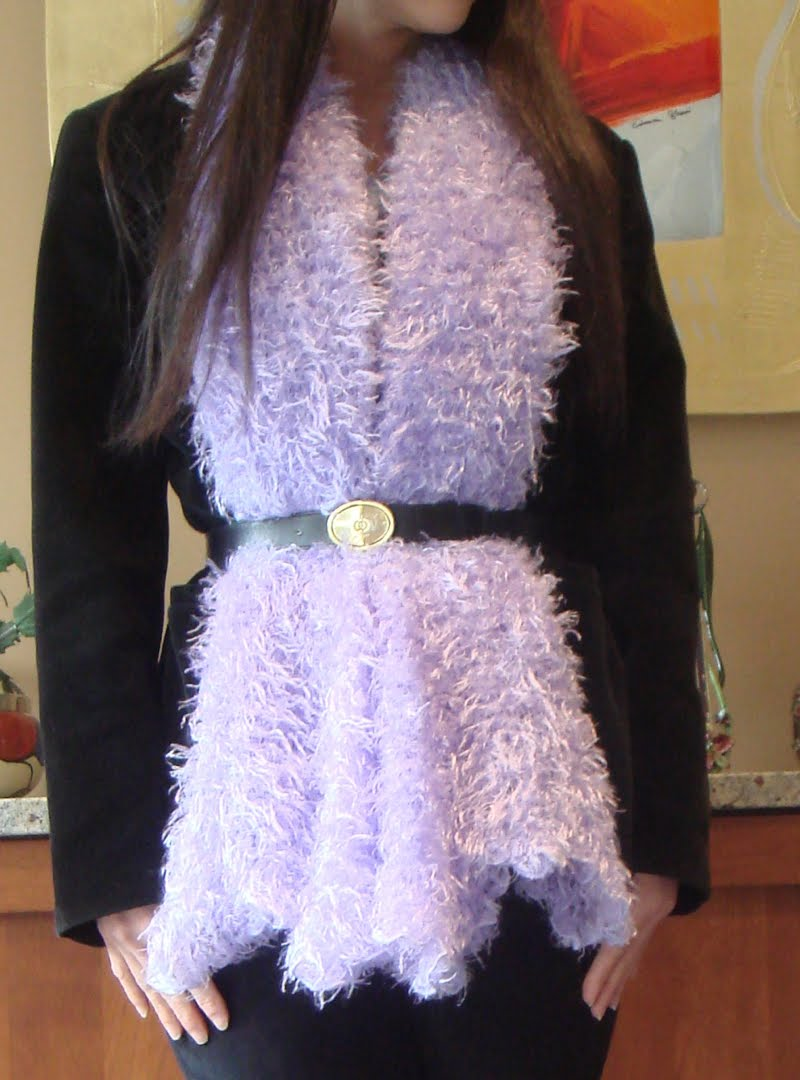 Black Velvet & Purple Fuzz outfit  - up close of belted fuzzy scarf