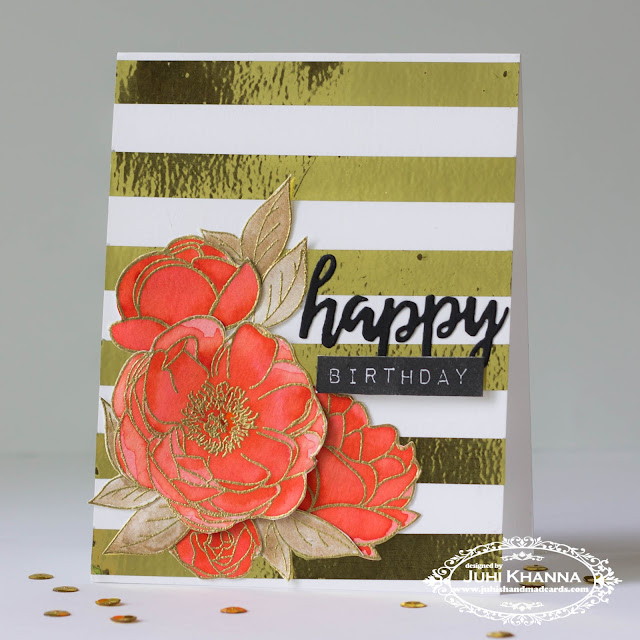 Bold striped background #cascard in gold and coral with #PTIstamps