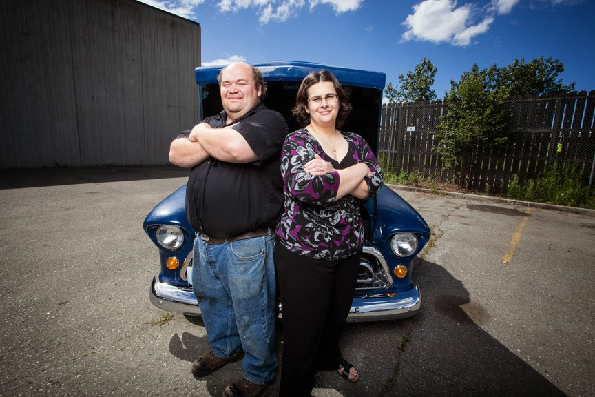 Shawn and Heather Heusser pose with their '57 Chevy.