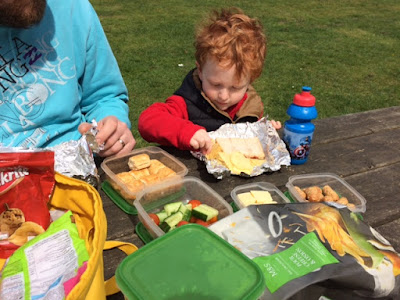 Little boy and Daddy having a picnic