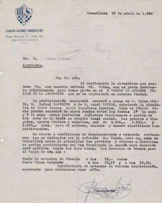 Carta del presidente Ramon Salat i Pous enviada a Àngel Ribera