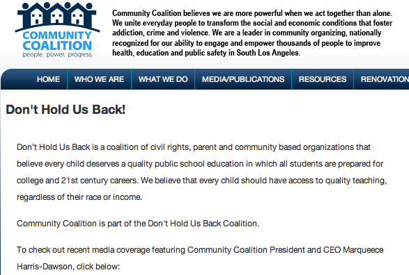 Marqueece Harris-Dawson and @CoCoSouthLA were part of the privatizers involved in the Don't Hold Us Back campaign to attack UTLA, and push for more school privatization.