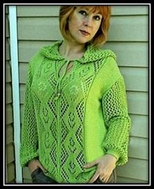 vyazanie spicami vyazanie dlya jenschin pulover spicami ajurnii pulover pulover s kapyushonom shema uzora opisanie vyazaniya