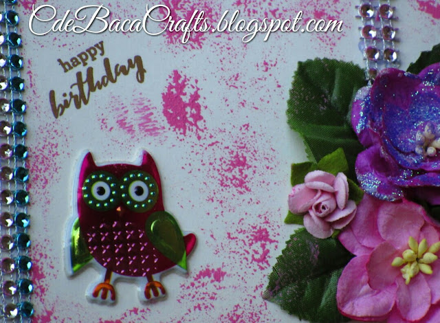 Cute happy birthday owl card perfect for kids featured on CdeBaca Crafts blog.