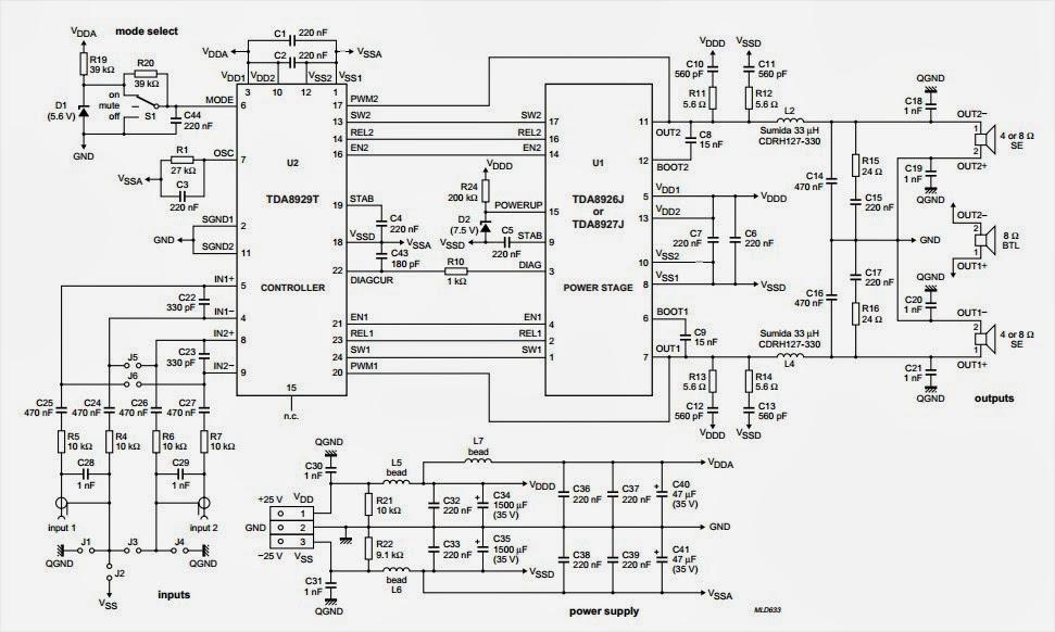 tda8927  tda8929 audio amplifier 2x80w