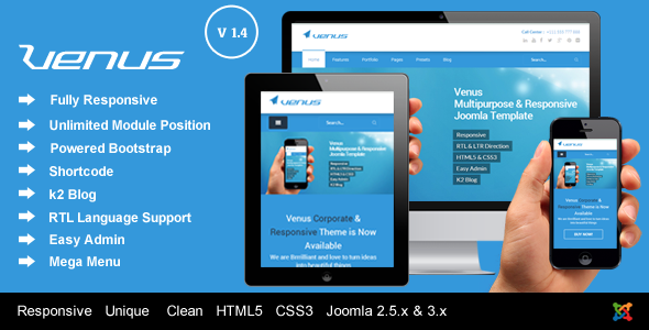 Venus – Responsive Multi-Purpose Joomla Template