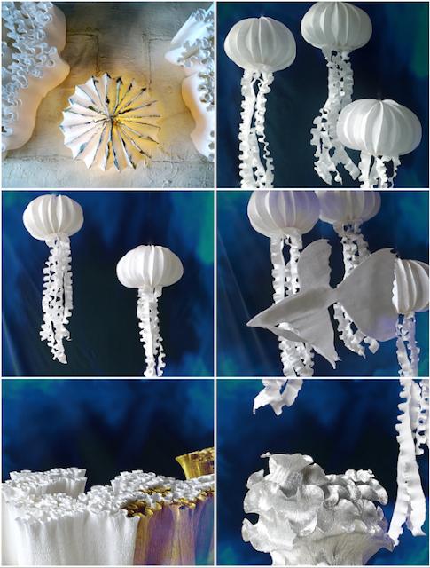 allestimenti realizzati con la carta: meduse, coralli pesci di Alessandra Fabre Repetto