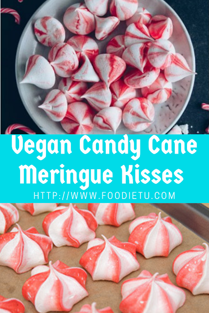 Vegan Christmas Candy Cane Meringue Kisses
