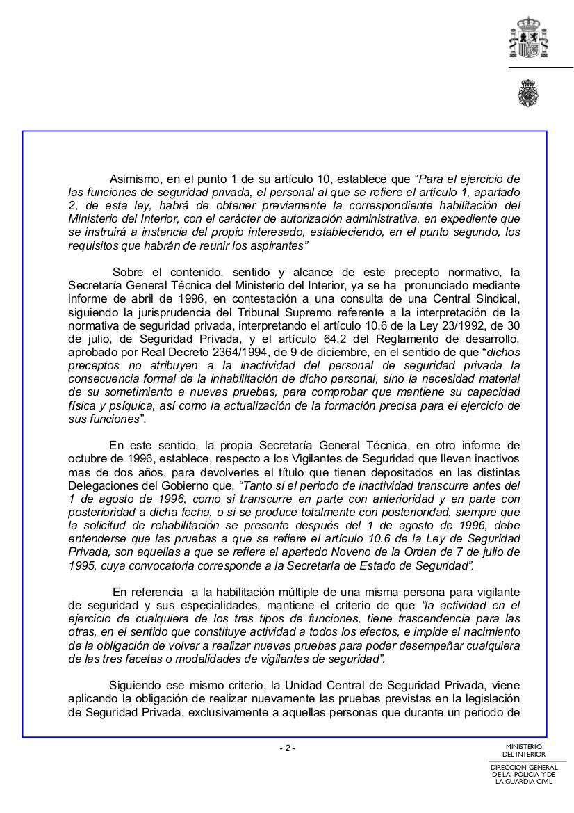 Cc oo prosegur madrid actualidad del sector for Secretaria del ministerio del interior