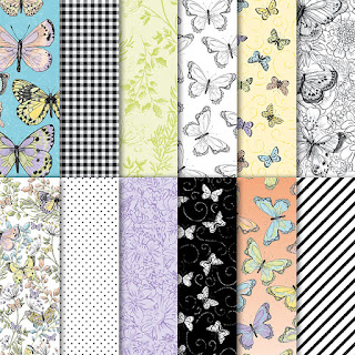 12 designs of butterfly paper called Botanical Butterfly by Stampin' Up!