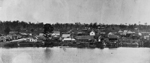 South Brisbane riverfront, haunt of Bull Sharks, circa 1868 (JOL)