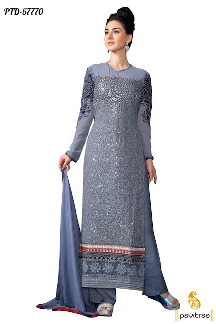 grey color santoon pakistani designer dresses collection for wedding