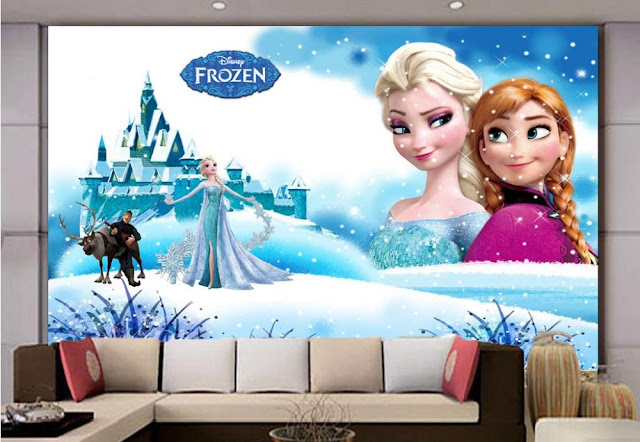Frozen wall mural Disney Frozen wallpaper 3d mural wallpaper Child Room Walls murals snow castle baby girl kid
