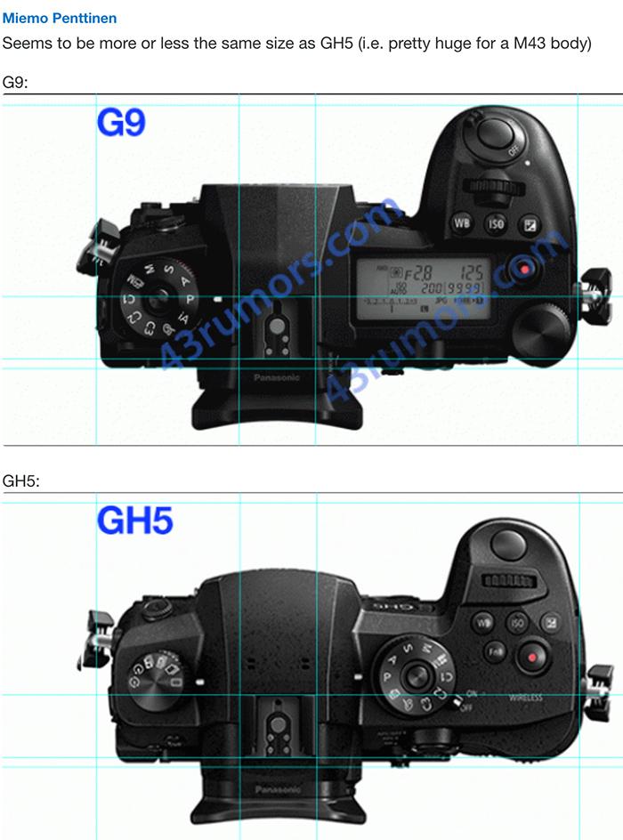 Сравнение размеров Lumix G9 и GH5