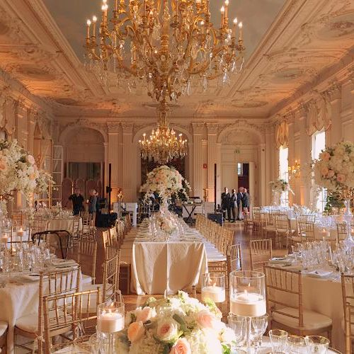 The Main Ballroom At Rosecliff Mansion Dressed Up In Gold Champagne Blush Ivory