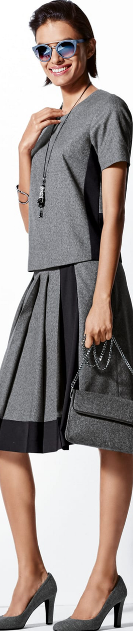 Madeleiene Grey/Black Skirt