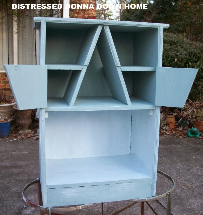 Primitive furniture, blue distressed painting, cabinet