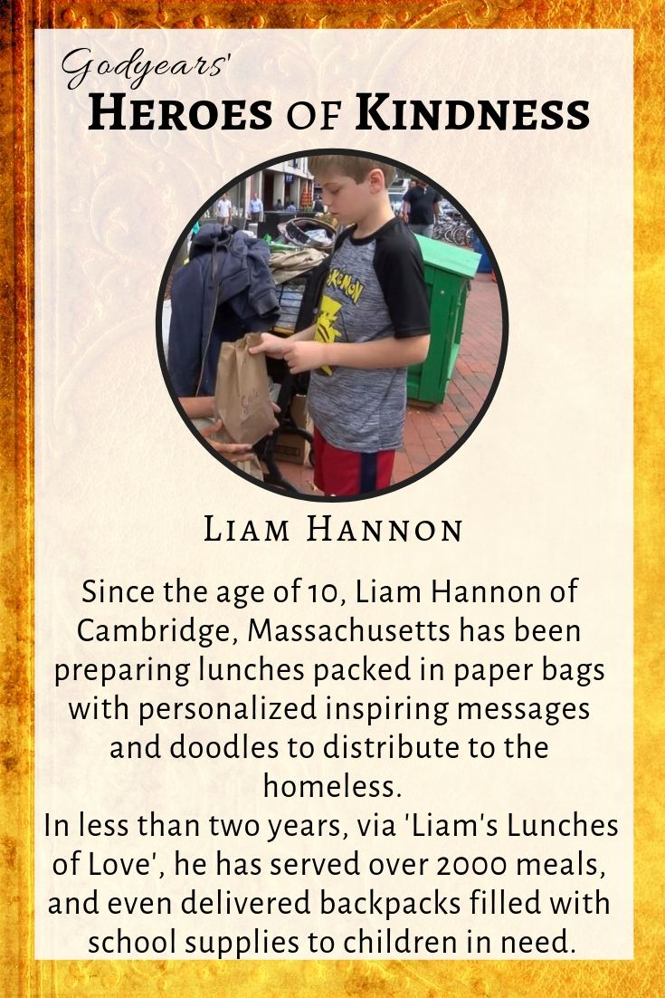 12 year old Liam Hannon has prepared and served over 2000 meals to the homeless in Cambridge