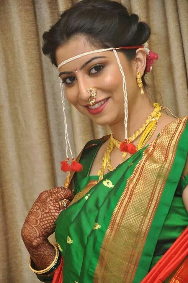 Traditional Maharastrian Bridal Makeup and Hair Style