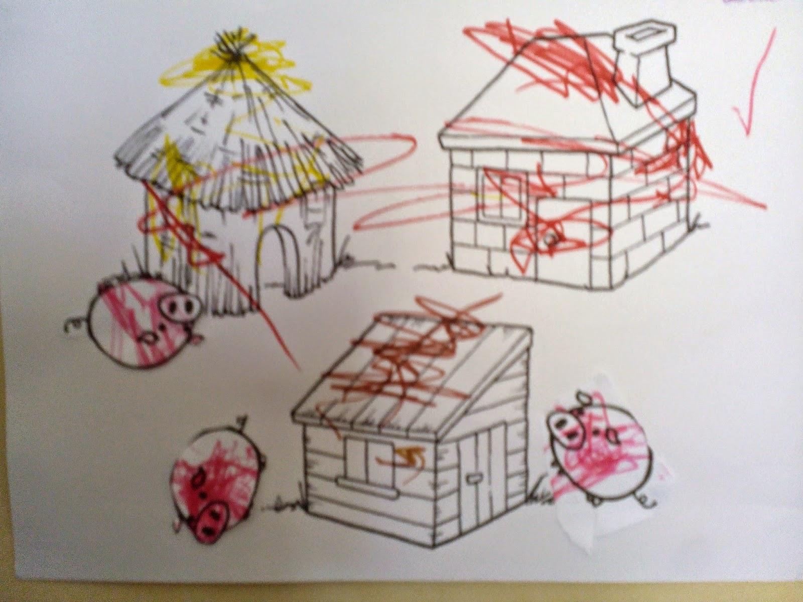 Coloriage Maison Cochon.Fripouilles Et Gribouilles Collage Les Trois Petits Cochons