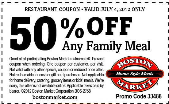 photo regarding Printable Boston Market Coupons called Boston marketplace coupon codes 2018 printable /