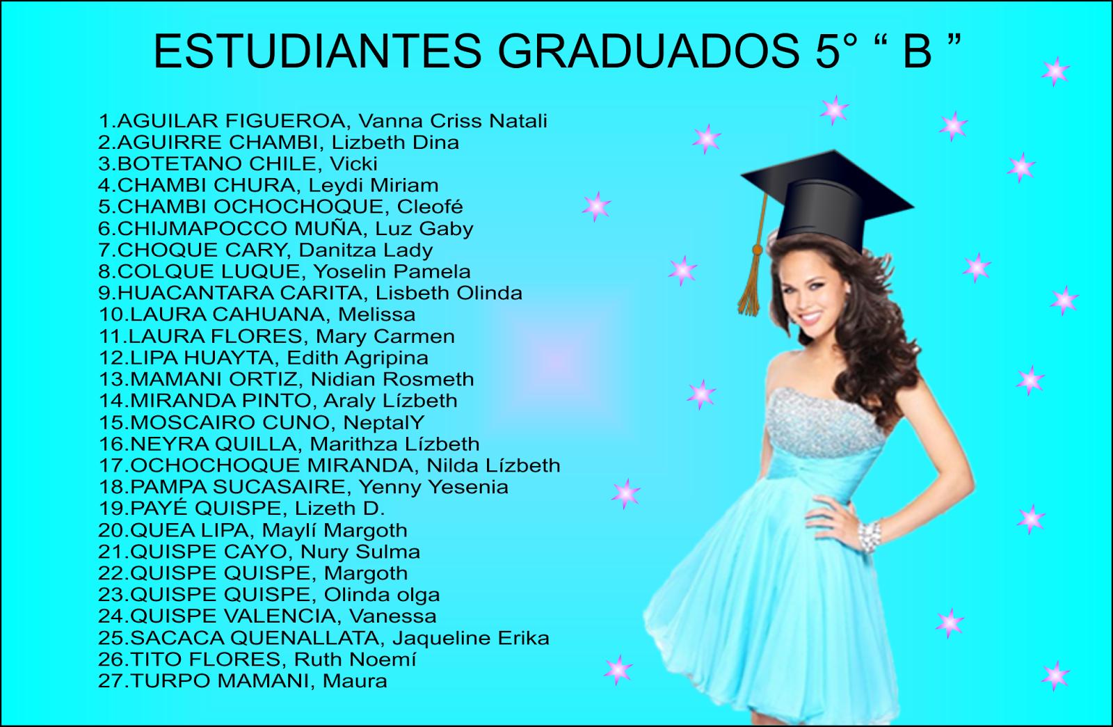 agroÍnas cuarto b 2016 tarjeta de graduación relación de