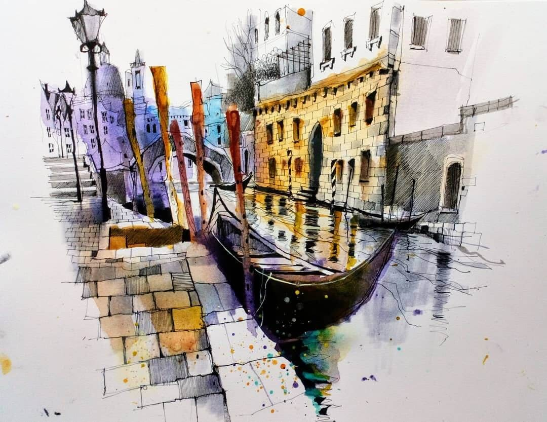 02-Venice-Gondola-and-Canal-Ian-Fennelly-Urban-Sketches-Colorfully-Painted-www-designstack-co