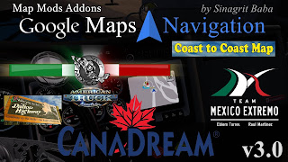 ats google maps navigation normal & night version map mods addons v3.0
