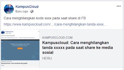 Cara menghilangkan tanda xxxxx pada saat share ke media sosial