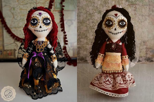 La Catrina mexicana, muñecas hechas a mano.Día de Muertos. Day of the dead.