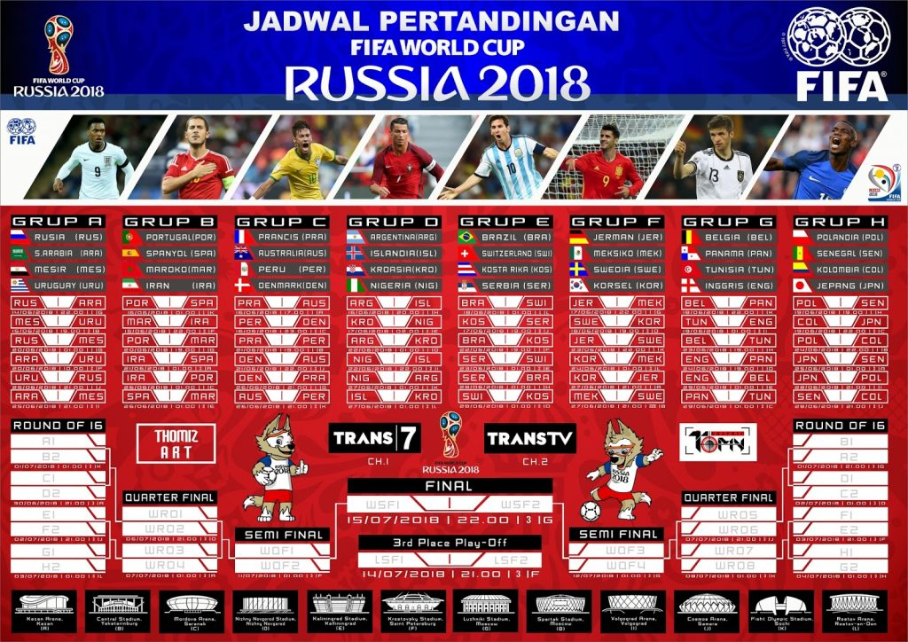 Jadwal Pertandingan FIFA World Cup Russia 2018