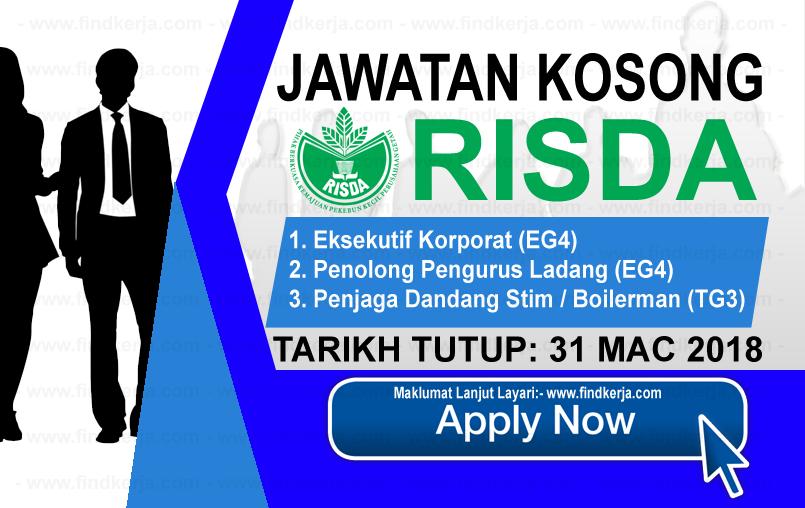 Jawatan Kerja Kosong RISDA - Pihak Berkuasa Kemajuan Pekebun Kecil Perusahaan Getah logo www.ohjob.info mac 2018