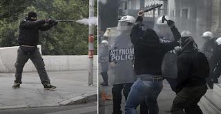 «Πόλεμος» στην πλατεία Συντάγματος μεταξύ αντιεξουσιαστών και ΜΑΤ