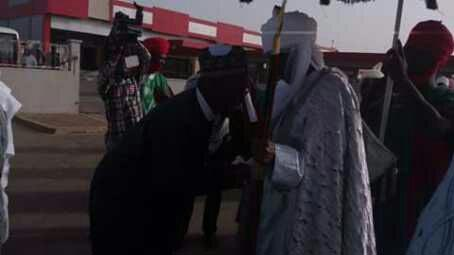 Emir Of Kano And Sports Minister Meet At Kano Airport