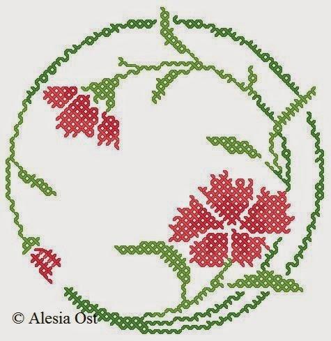 Free cross-stitch patterns, Carnation pin cushion, pin cushion, floral, half stitch, quarter stitch, cross-stitch, back stitch, cross-stitch scheme, free pattern, x-stitchmagic.blogspot.it, вышивка крестиком, бесплатная схема, punto croce, schemi punto croce gratis, DMC, blocks, symbols