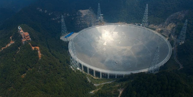Photo taken on Sept. 24, 2016 shows the 500-meter Aperture Spherical Telescope (FAST) in Pingtang County, southwest China's Guizhou Province. The FAST, world's largest radio telescope, measuring 500 meters in diameter, was completed and put into use on Sunday. (Xinhua/Ou Dongqu)
