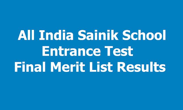 All India Sainik School Entrance Test Final Merit List Results